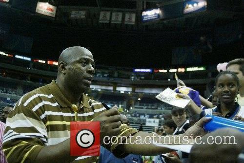 Earvin Magic Johnson visiting the Verizon Center to...