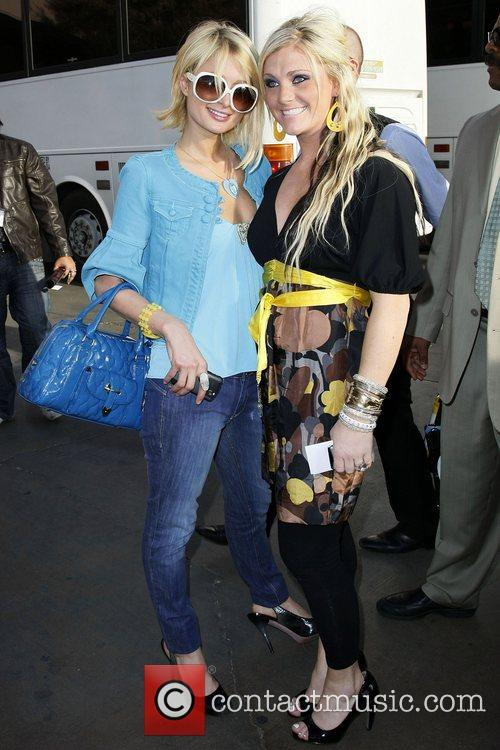 Paris Hilton leaving the Doll House Booth at...