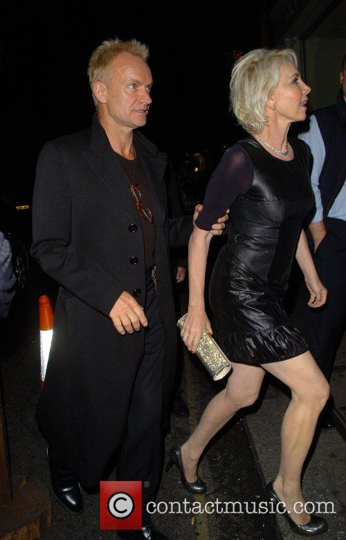 Sting aka Gordon Sumner and Trudie Styler leaving...
