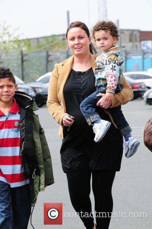 Rebecca Ellison partner of Rio Ferdinand arriving at...