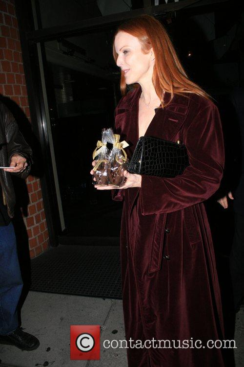 Marcia Cross and Tom Mahoney leaving Mr Chow...