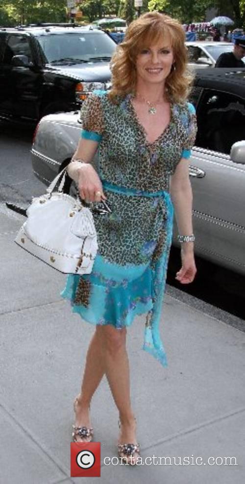 Marg Helgenberger leaving her hotel New York City,...