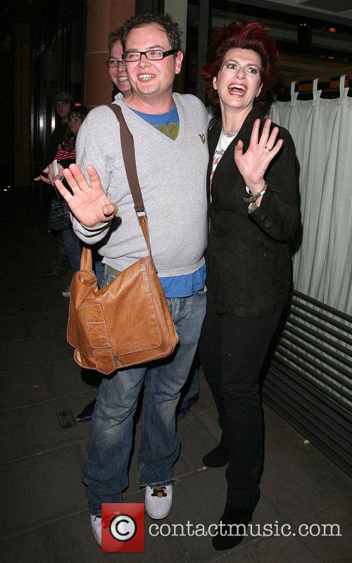 Alan Carr and Cleo Rocos leaving Cipriani restaurant....