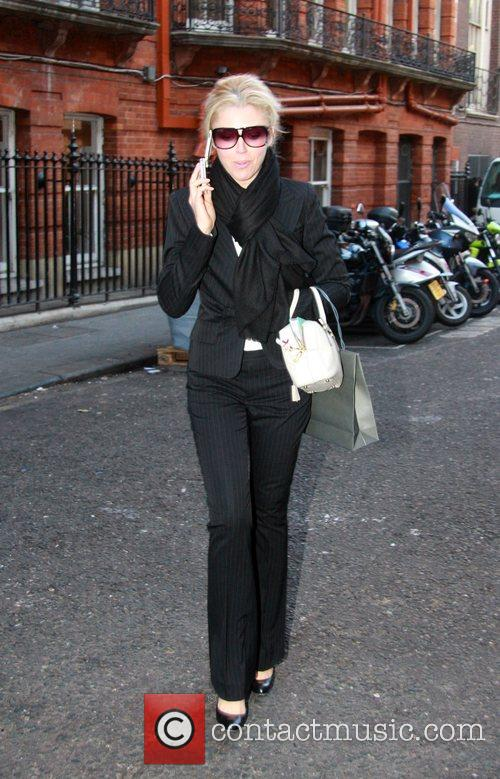 Tamara Beckwith Chats on her mobile phone outside...