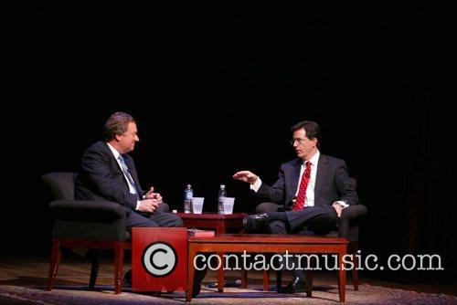 Tim Russert and Steven Colbert Steven Colbert attends...