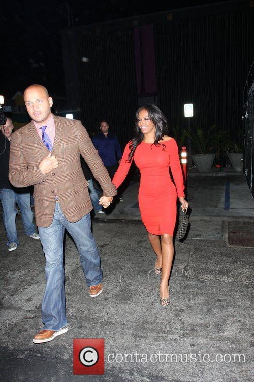 Melanie Brown and husband Stephen Belafonte leaving Foxtail...