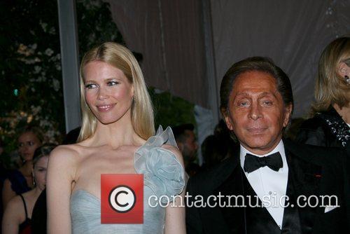 Claudia Schiffer and designer Garavani Valentino 'Superheroes: Fashion...