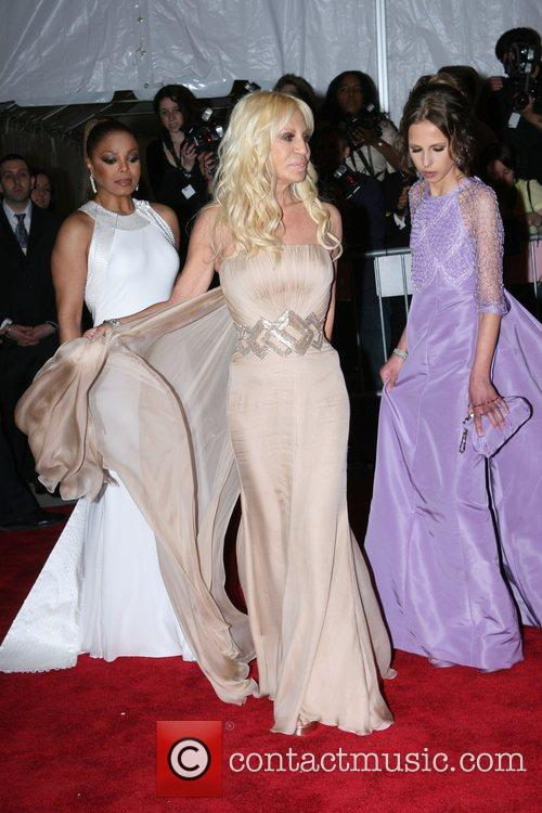 Janet Jackson, designer Donatella Versace and Allegra Versace...