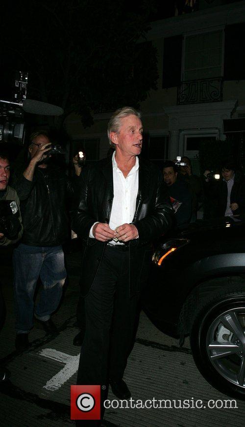 Michael Douglas leaving Il Sol restaurant