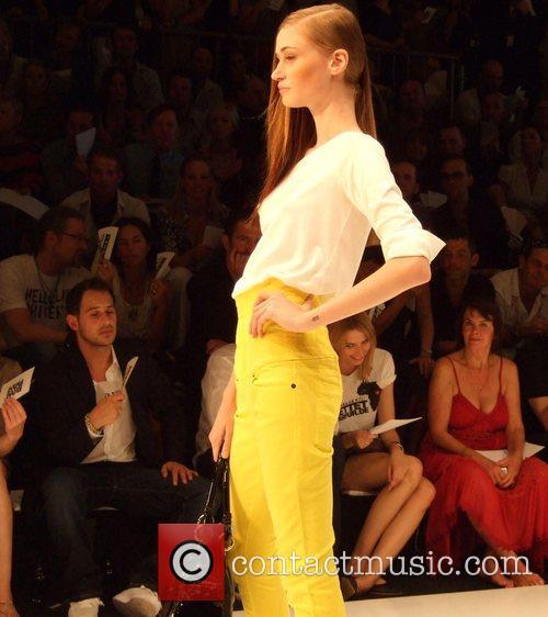 Model and Moritz Bleibtreu Michalsky Fashion Show during...