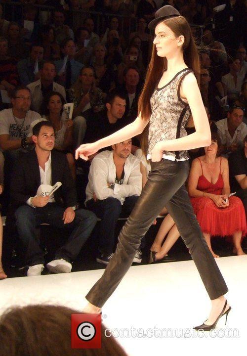 Moritz Bleibtreu and model Michalsky Fashion Show during...