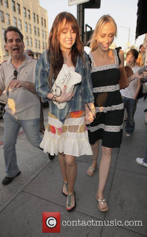 Miley Cyrus and Tish Cyrus leaving the Cheesecake...