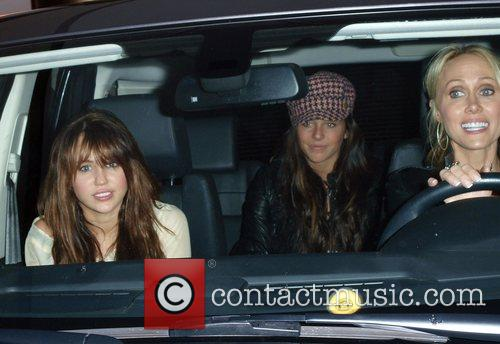 Miley Cyrus with her mother Leticia Cyrus and...