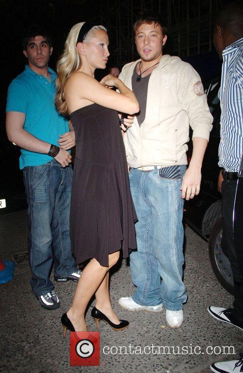 Caprice and Duncan James leaving Movida nightclub London,...