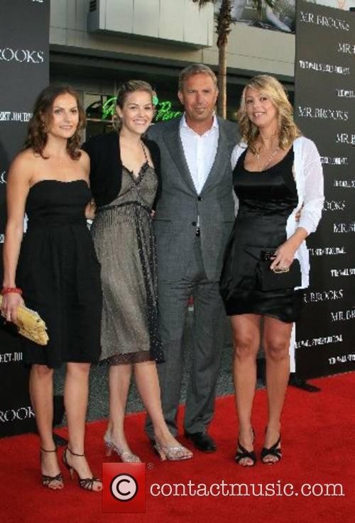 Kevin Costner,Wife Christine Baumgartner,Lily Costner and Annie Costner...