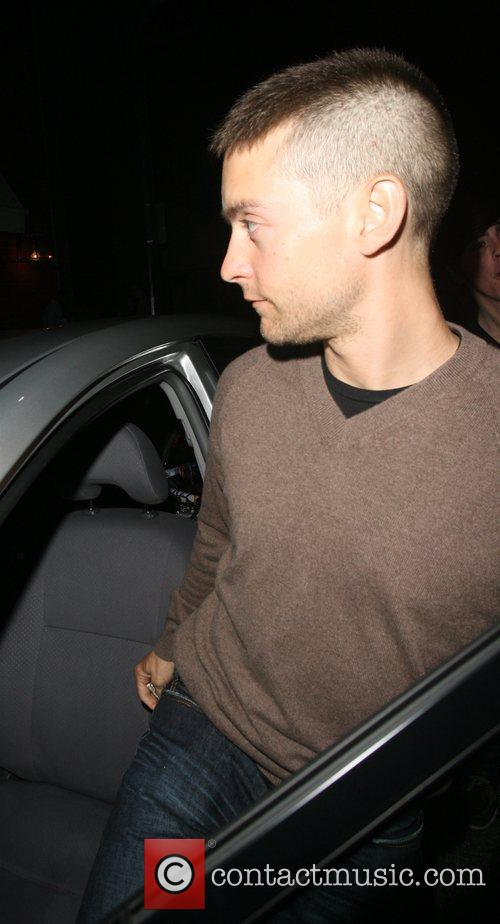 Tobey Maguire leaving Mr Chow restaurant