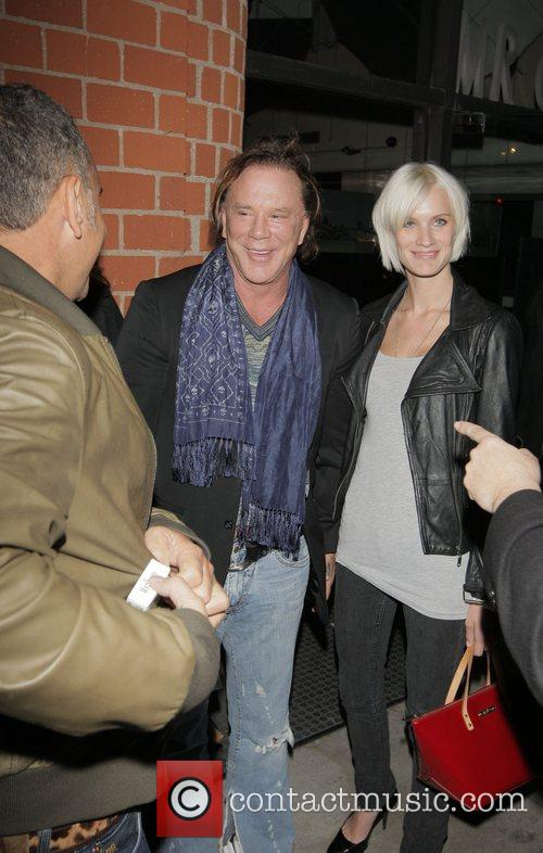 Mickey Rourke and Christian Audigier leaving Mr Chow
