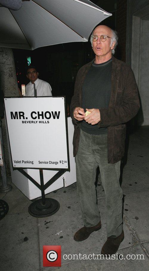Larry David leaving Mr. Chow's restaurant Beverly Hills,...