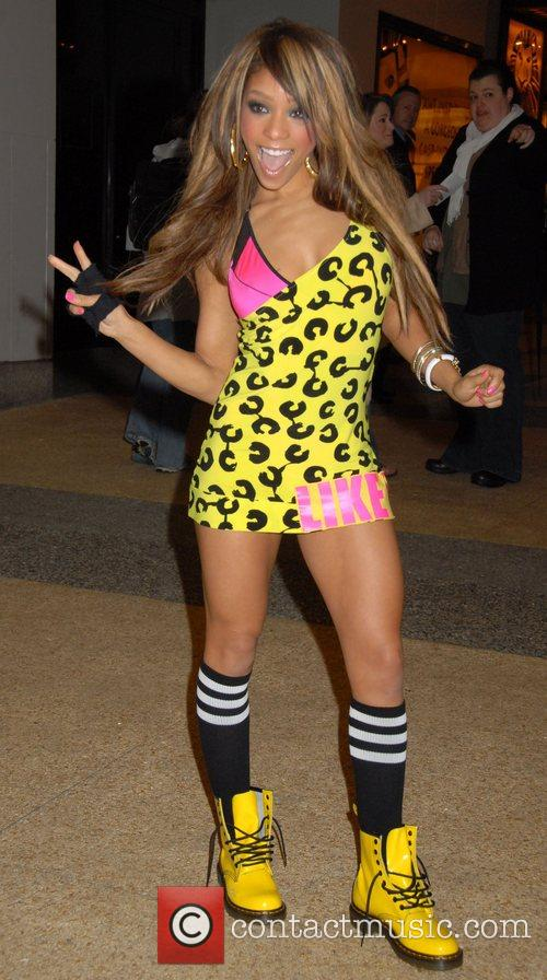 Chrystina Sayers of Girlicious leaving MTV TRL studios...