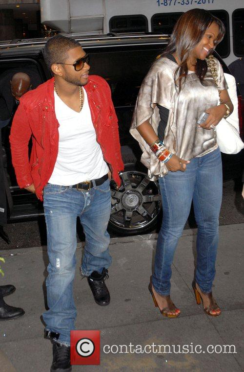 Usher and wife Tameka Foster outside MTV TRL...
