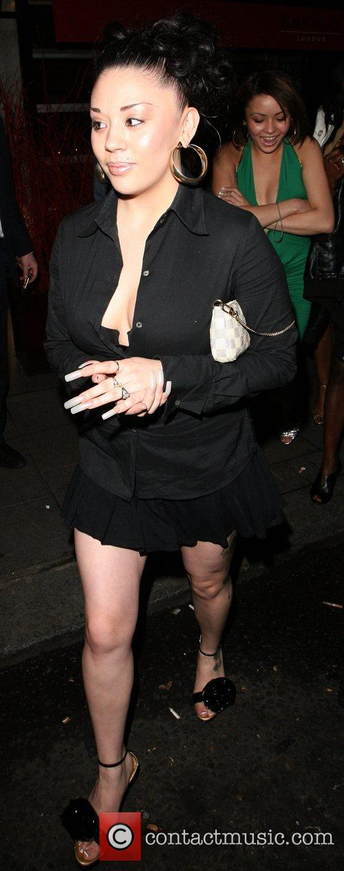 The former Sugababe leaves the Embassy Club after...