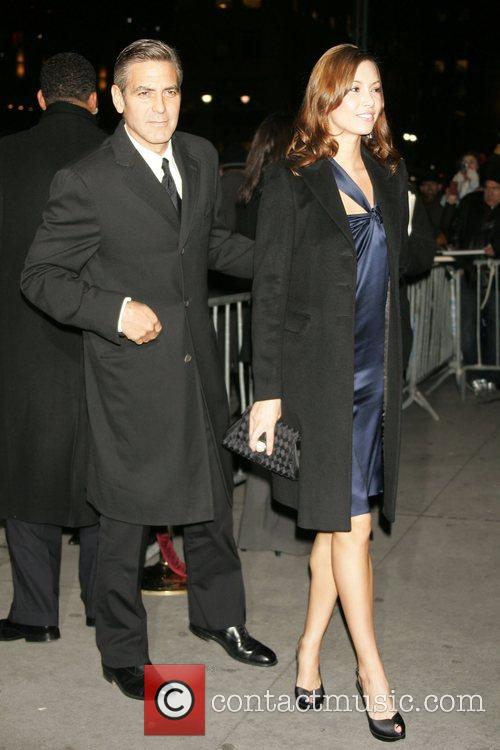 George Clooney and girlfriend Sarah Larson 2008 National...
