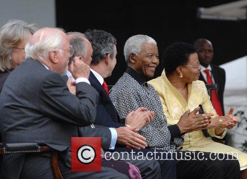 Nelson Mandela, Gordon Brown and Graca Machel 1