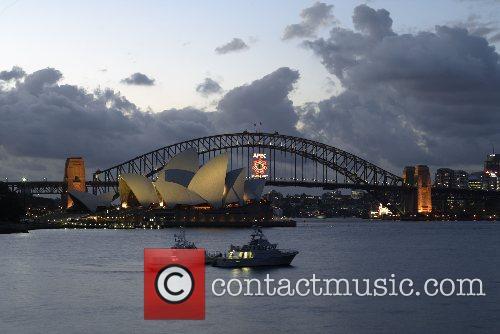 The APEC 2007 logo on Sydney Harbour Bridge,...