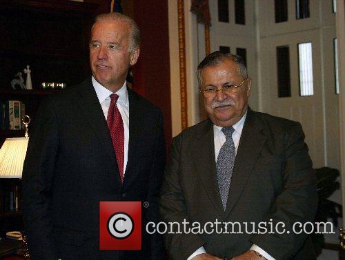 US Senator Joe Biden and Iraqi President Jalal...