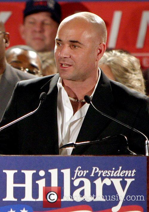 Andre Agassi, Bill Clinton and Hillary Clinton 1
