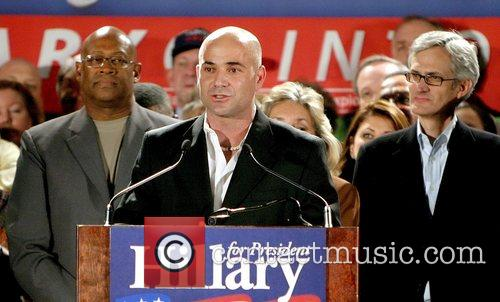 Andre Agassi, Bill Clinton and Hillary Clinton 3