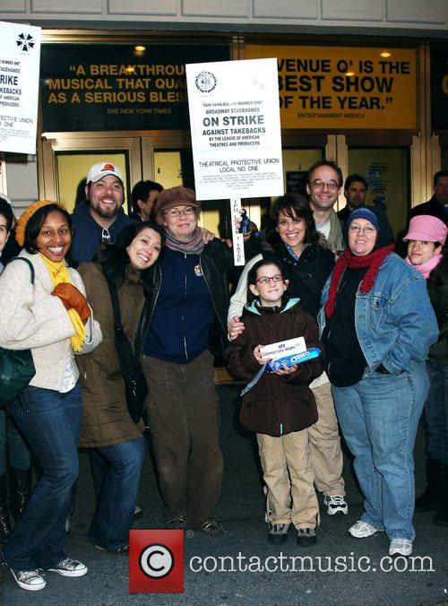 Cast of Avenue Q supporting Broadway's 'Stagehands Local...