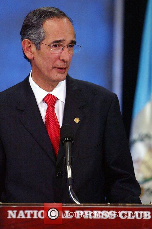 Alvaro Colom, President of Guatemala, addresses the media...