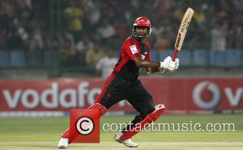 Delhi Daredevils Farveez Maharoof  plays a shot...
