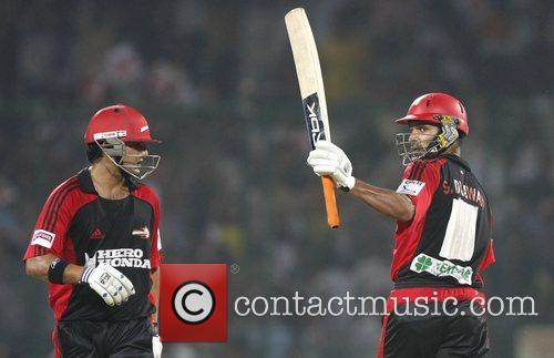 Shikhar Dhawan player of Delhi Daredevils  shows...