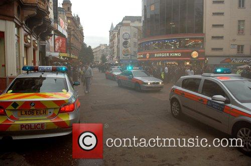 Police arrive at Leicester Square where a building...