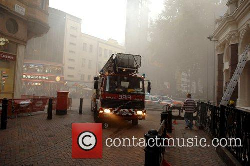 Fire trucks arrive at Leicester Square where a...