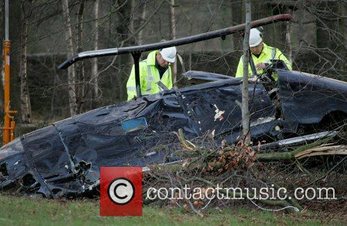 Police on the scene of a Helicopter crash...