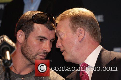 Joe Calzaghe speaks to his promoter Frank Warren...