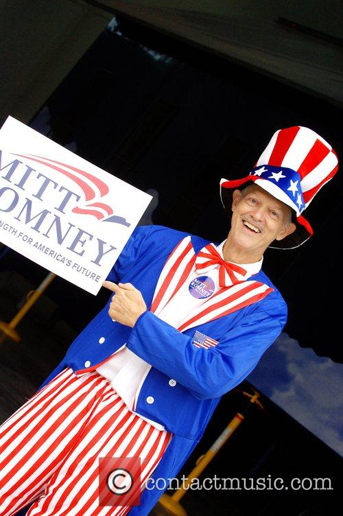 Presidential Candidate Mitt Romney attends a rally in...