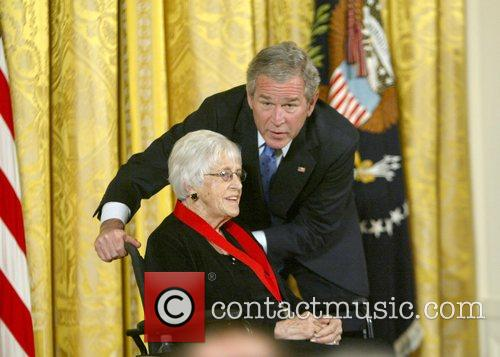 National Humanities Medal recipient, Pauline Schultz and President...