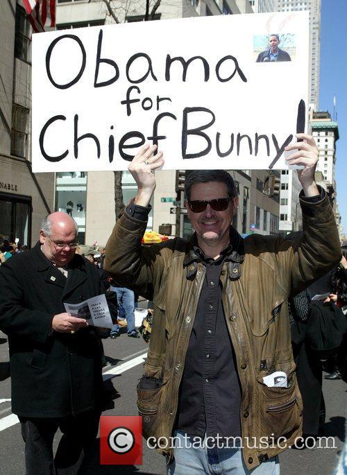 Barak Obama supporter 2008 Easter Parade on Fifth...