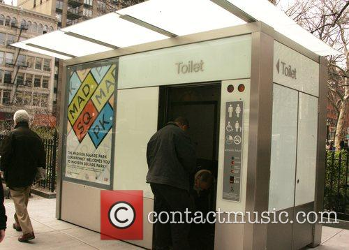 This toilet kiosk in Madison Square Park is...