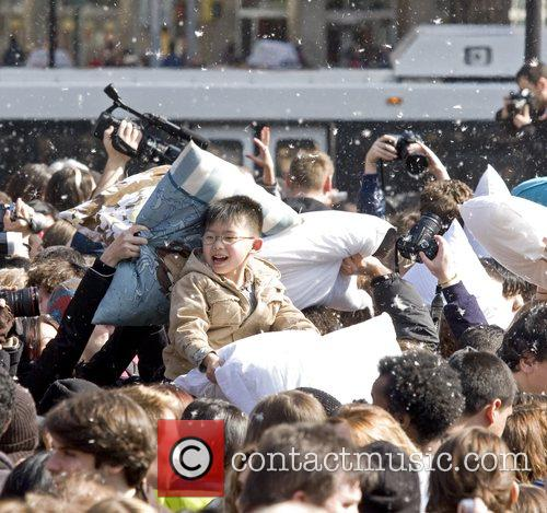 Pillow fighters  participating in 'International Pillow Fight...