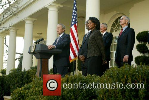U.S. President George W. Bush gives a parting...