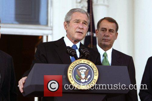 President George Bush answered his political attackers surrounded...