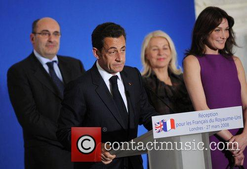 French President Nicolas Sarkozy delivers a speech at...