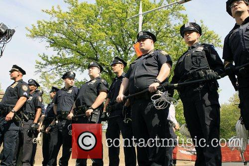 Police Officers Protestors participated in a act of...
