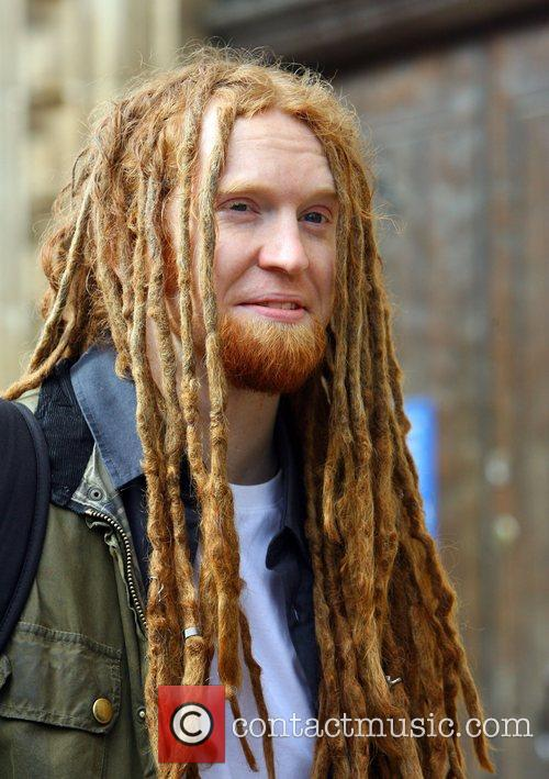 Newton Faulkner seen out carrying his guitar. London,...