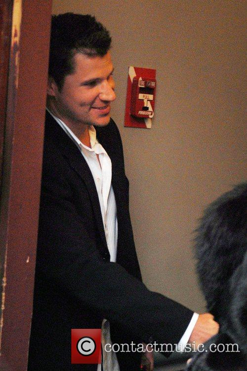 Nick Lachey leaving Mattell Showroom after attending the...